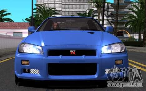 Nissan Skyline GT-R V Spec II 2002 for GTA San Andreas bottom view