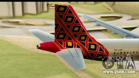 Airbus A320 Batik Air for GTA San Andreas back left view