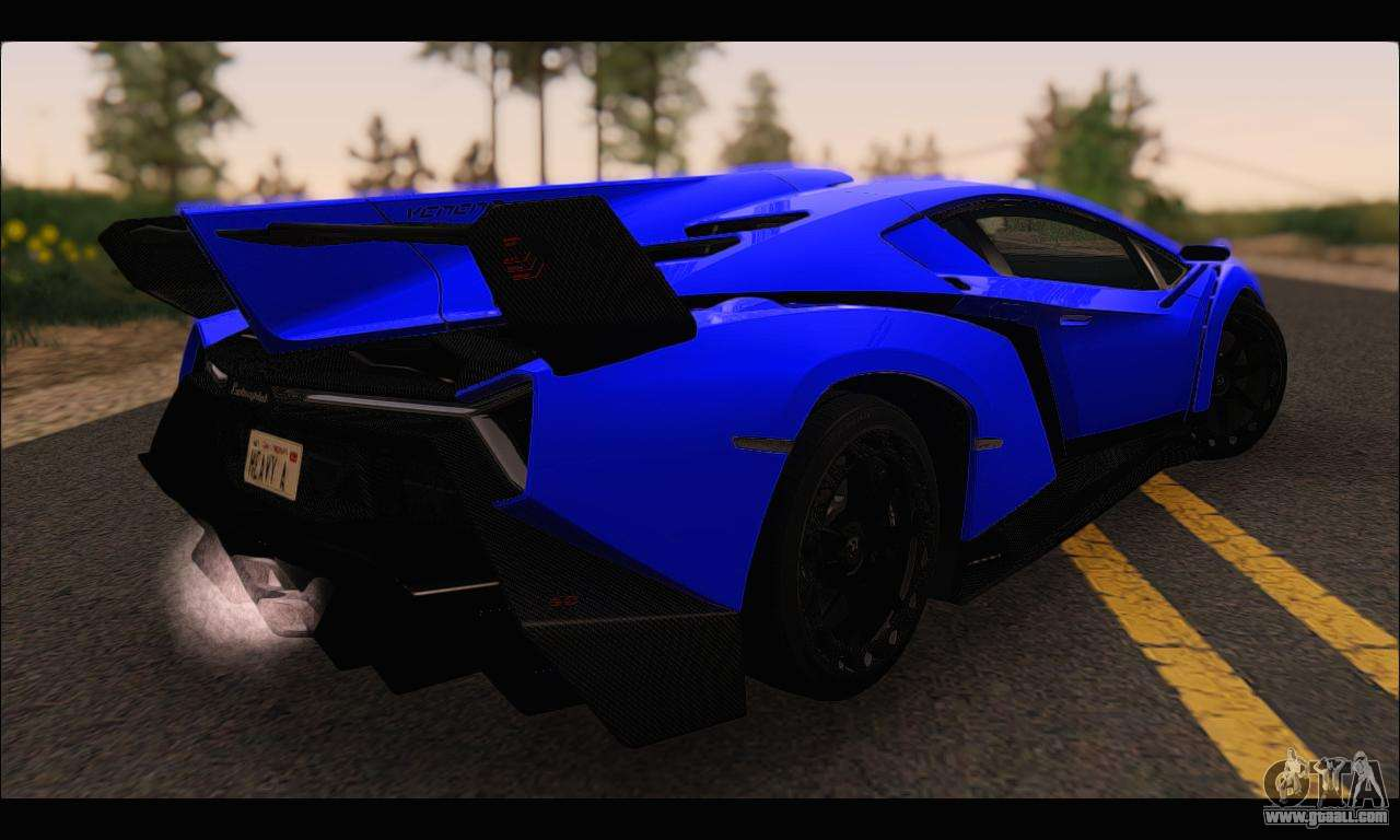 Lamborghini Veneno White Black 2015 (ADD IVF) For GTA San Andreas Back Left