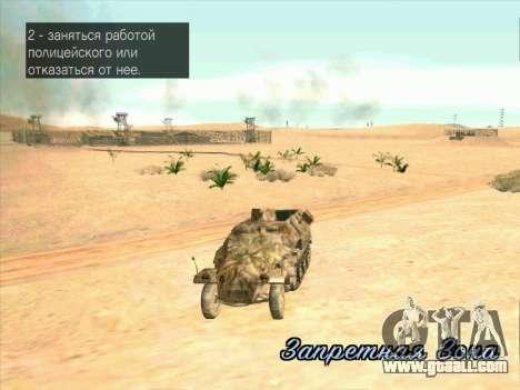 Sd Kfz 251 Desert Camouflage for GTA San Andreas inner view