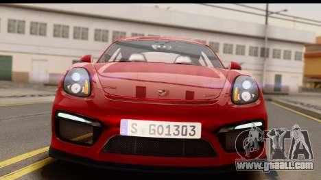 Porsche Cayman GT4 981c 2016 EU Plate for GTA San Andreas right view