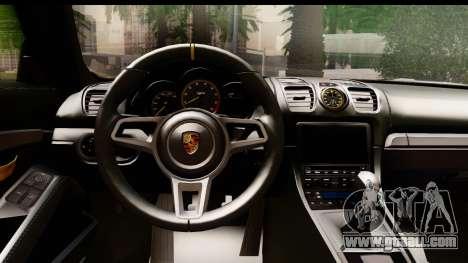Porsche Cayman GT4 981c 2016 EU Plate for GTA San Andreas inner view