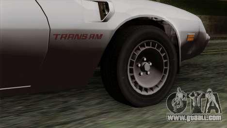 Pontiac Trans AM for GTA San Andreas back left view