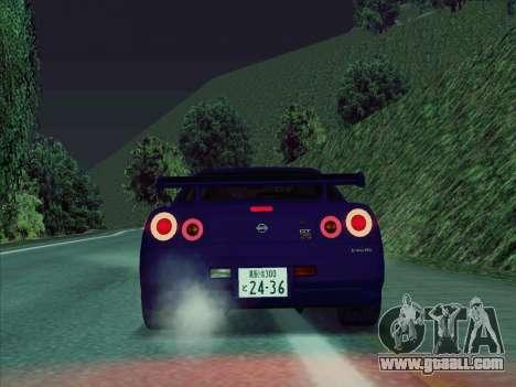 Nissan Skyline GT-R V-Spec (BNR34) for GTA San Andreas right view