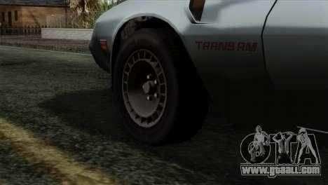 Pontiac Trans AM Interior for GTA San Andreas back left view