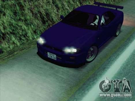 Nissan Skyline GT-R V-Spec (BNR34) for GTA San Andreas back left view