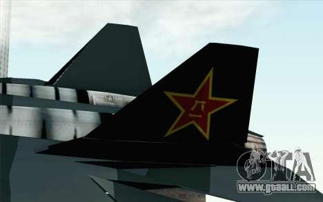 Sukhoi PAK-FA China Air Force for GTA San Andreas back left view