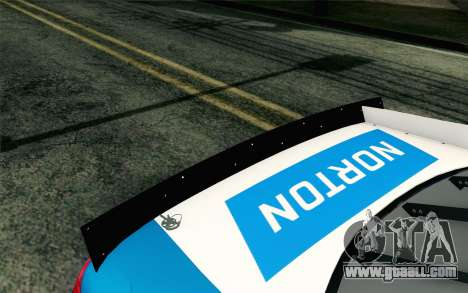 NASCAR Ford Fusion 2012 Plate Track for GTA San Andreas back view