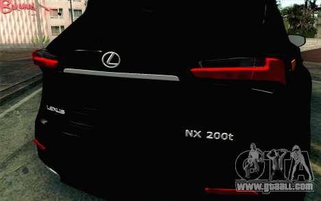 Lexus NX 200T v4 for GTA San Andreas back view