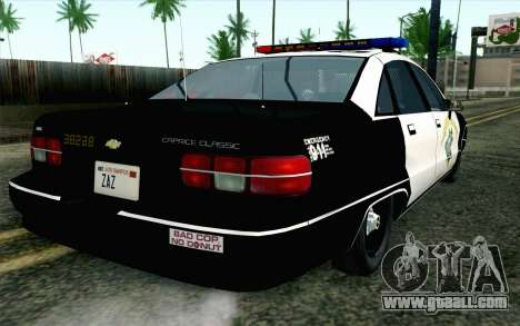 Chevy Caprice SAHP SAPD Highway Patrol v1 for GTA San Andreas left view