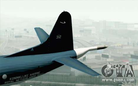 Lockheed P-3 Orion MLD 312 for GTA San Andreas back left view