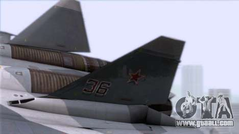 Sukhoi T-50 PAK FA Akula with Trinity for GTA San Andreas back left view
