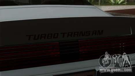 Pontiac Trans AM Interior for GTA San Andreas right view