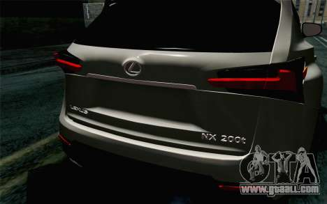 Lexus NX 200T v5 for GTA San Andreas back view