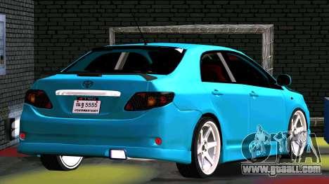 Toyota Corolla Altis for GTA San Andreas inner view