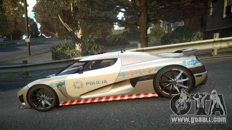 Koenigsegg Agera Polish Highway Patrol Police for GTA 4 left view