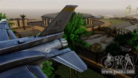 EMB F-16F Fighting Falcon US Air Force for GTA San Andreas back left view