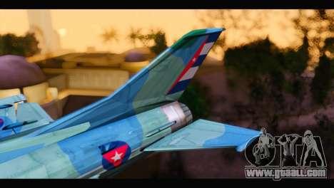 MIG-21MF Cuban Revolutionary Air Force for GTA San Andreas back left view