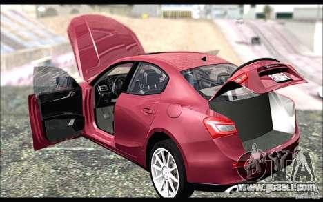 Maserati Ghibli 2014 for GTA San Andreas back left view