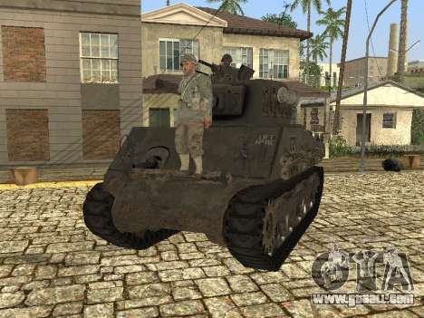 Tank M4 Sherman for GTA San Andreas back left view