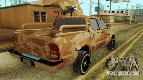 Toyota Hilux Siria Rebels without flag for GTA San Andreas back left view