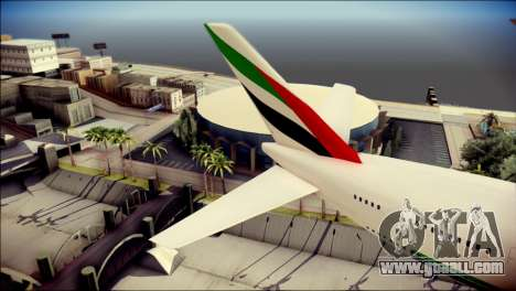 Airbus A380-800 Fly Emirates Airline for GTA San Andreas back left view
