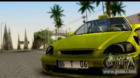 Honda Civic 1.4 Taxi for GTA San Andreas back left view