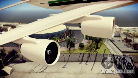 Airbus A380-800 Fly Emirates Airline for GTA San Andreas right view