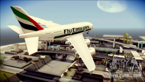 Airbus A380-800 Fly Emirates Airline for GTA San Andreas left view