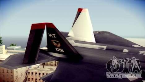 F-22 Raptor Razgriz for GTA San Andreas back left view