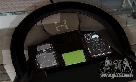 JAS-39 Gripen NG ACAH for GTA San Andreas back view