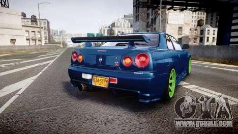 Nissan Skyline BNR34 GT-R V-SPECII 2002 for GTA 4 back left view