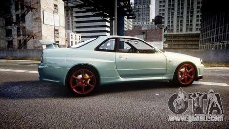 Nissan Skyline R34 GT-R M-Spec Nur for GTA 4 left view