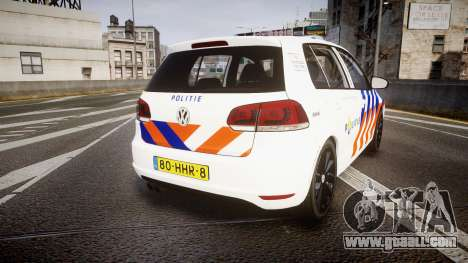 Volkswagen Golf Mk6 Dutch Police [ELS] for GTA 4 back left view