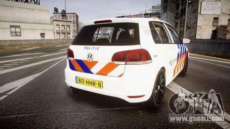Volkswagen Golf Mk6 Dutch Police [ELS] for GTA 4 back left view