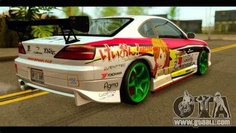 Nissan Silvia S15 Drift Hirasawa Yui Itasha for GTA San Andreas left view