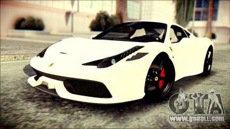 Ferrari 458 Speciale 2015 HQ for GTA San Andreas