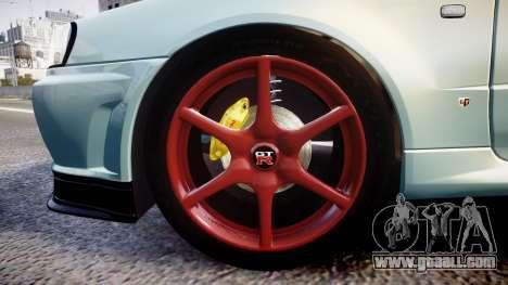 Nissan Skyline R34 GT-R M-Spec Nur for GTA 4 back view