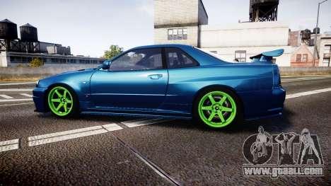 Nissan Skyline BNR34 GT-R V-SPECII 2002 for GTA 4 left view