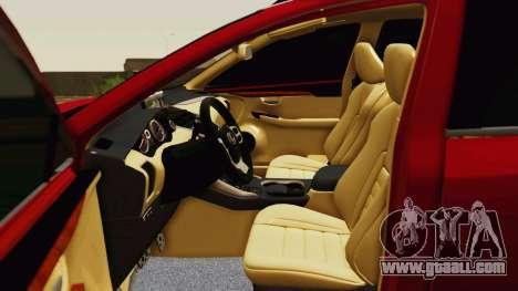 Lexus NX200T v2 for GTA San Andreas upper view