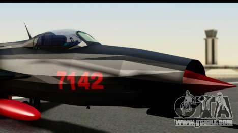 MIG-21F Fishbed B URSS Custom for GTA San Andreas back left view