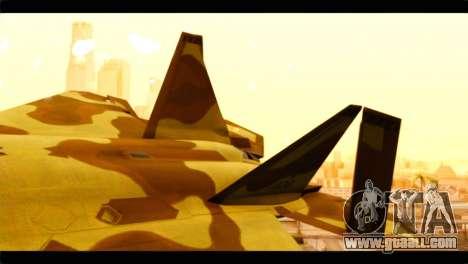 F-22 Raptor Desert Camouflage for GTA San Andreas back left view