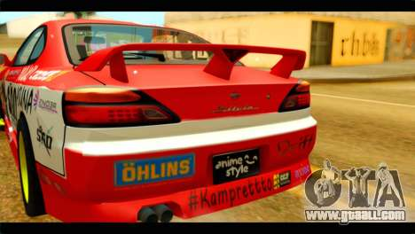 Nissan Silvia S14 Yuuki Asuna Itasha for GTA San Andreas back view