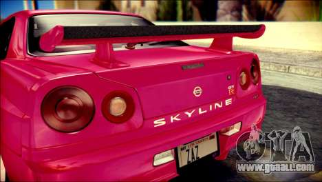 Nissan Skyline GTR V Spec II for GTA San Andreas back view