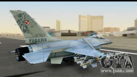 F-16C Polish Air Force Tigers for GTA San Andreas back left view