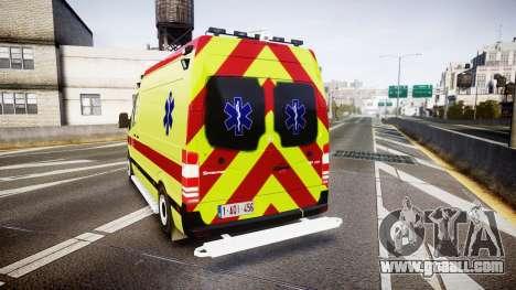 Mercedes-Benz Sprinter 311 cdi Belgian Ambulance for GTA 4 back left view
