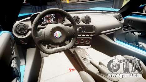 Alfa Romeo 4C 2014 HD Textures for GTA 4 back view