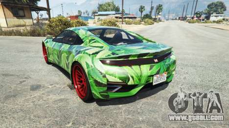 GTA 5 Dinka Jester (Racecar) Cannabis rear left side view