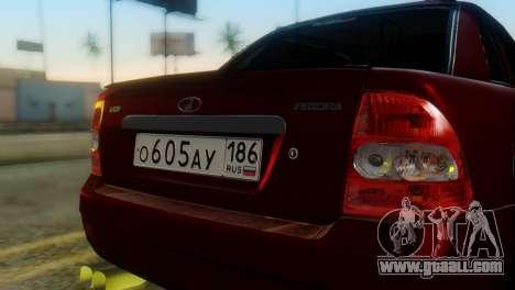 Lada Priora Sedan for GTA San Andreas back view