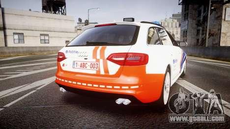 Audi S4 Avant Belgian Police [ELS] orange for GTA 4 back left view